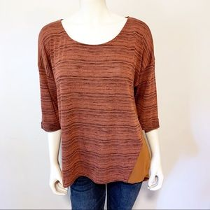 Lush Orange Knit front Sheer back top XL